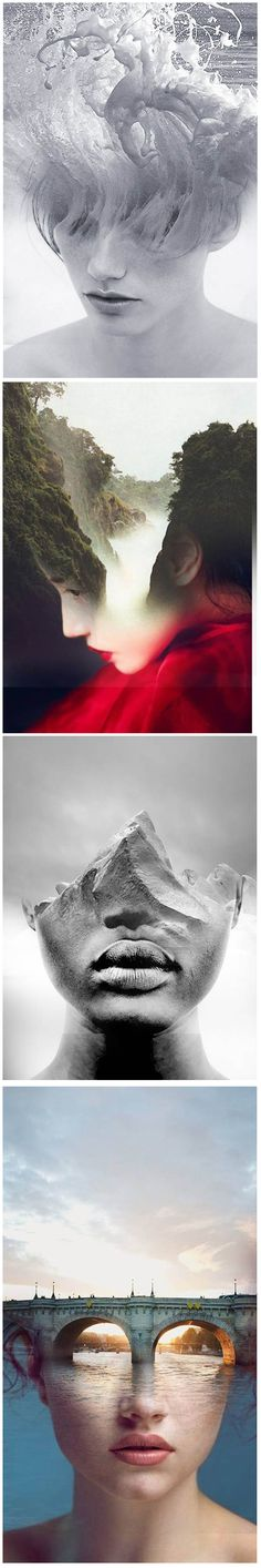 Double exposure portraits by Spanish-based artist Antonio Mora (a.k.a. Mylovt) blend human and nature worlds into surreal hybrid artworks. Mora works with images he'd found browsing through online databases, magazines and blogs, and then fuses them together using skillful photo manipulation techniques. His seamless way of mixing various concepts together leaves the viewer with mind-tricking illusions.
