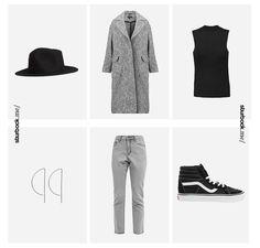 Classic: Hut, Mantel, Boyfriend-Jeans und Vans 'Sk8 Lite'. Hier entdecken und…