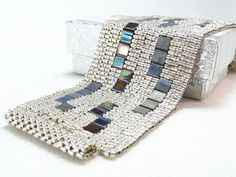 Items similar to Shining Night Beadwoven Cuff Bracelet - Modern Blocks Collection on Etsy Jewelry Patterns, Bracelet Patterns, Beading Patterns, Beaded Cuff Bracelet, Beaded Jewelry, Handmade Jewelry, Cuff Bracelets, Silver Jewelry, Jewellery