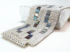 Items similar to Shining Night Beadwoven Cuff Bracelet - Modern Blocks Collection on Etsy Jewelry Patterns, Bracelet Patterns, Beading Patterns, Beaded Cuff Bracelet, Beaded Jewelry, Handmade Jewelry, Cuff Bracelets, Jewellery, Loom Beading