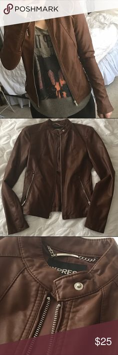 Express Cognac Color Faux Leather Jacket Great fall leather jacket! Only worn a handful of times. Beautiful cognac color. (Second photo is a little dark--selfie and detail shot are more accurate.) Express Jackets & Coats
