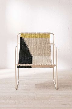 sling chair, woven chair, home décor, sitting chair, color block chair, color blocking, mustard yellow, fabric chair, weaving,