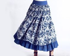 blue floral linen maxi skirt 0142 by xiaolizi on Etsy, $46.99