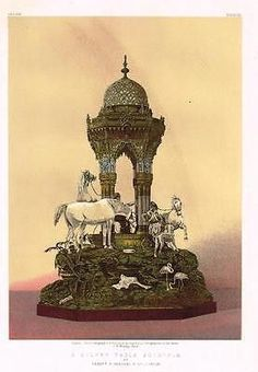 Waring's SILVER TABLE FOUNTAIN -Chromo from MASTERPIECES of ART - 1863