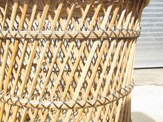 Vintage Rattan Table // Ratton Stool // Wicker // by BankandPearl, $40.00