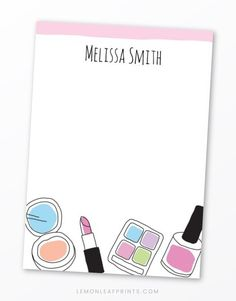 Fun stationery note cards featuring illustrations of make up (powder, nail varnish, eye shadow and lipstick) in a hand drawn doodle style. At the top is a pink border. Personalized name or other short text. Matches the doodle makeup birthday party invitation. Cute note cards for women