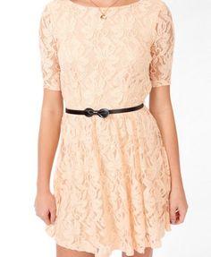 Peach Lace Surplice Back Dress