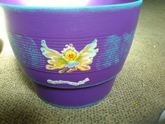 Painted and decorated flower pot
