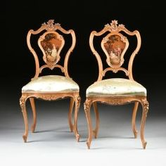 A PAIR OF ITALIAN CARVED AND PAINTED FRUITWOOD LOUIS XV