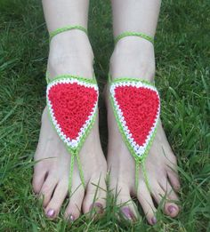 Wonderfully Watermelon Summer Handmade Crocheted Adult Barefoot Sandals by LightsCameraCrochet on Etsy
