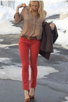 Red Skinny Jeans. Notice how the outfit fits her! We wanna try and make the mannis outfits fit like this :)