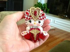 Medical Guardian Angel Hello Casting Kitty Embellished Cabochon DIY | evezbeadz - Jewelry on ArtFire