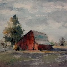 """Barnscape 6"" original watercolor by Julie Hill (6"" x 6"")"