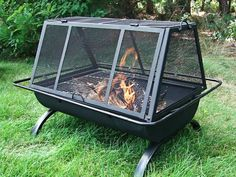 Sunnydaze Northland Grill Fire Pit With a cooking grate to make hamburgers, chicken wings or hotdogs you will be the hero in your social gatherings. Use this fire pit grill in your backyard, patio or deck or take camping. Fire Pit Cooking Grill, Fire Pit Grill, Fire Pit Backyard, Cooking On The Grill, Backyard Patio, Fire Pits, Large Backyard, Campfire Grill, Metal Fire Pit