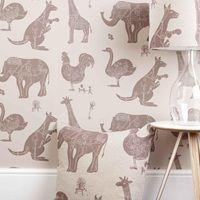 DESIGNER KIDS WALLPAPER- 'How it Works' in Stone | Paperboy Interiors Wallpaper | Animal Wallpaper | Children's Luxury Wallpaper | Kids Designer Wallpaper | Children's Bedroom Ideas | Kids Room Ideas | Available at Cuckooland