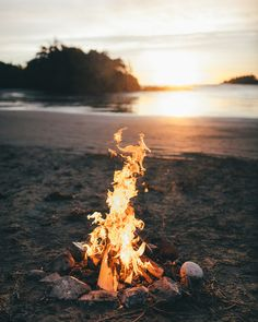 Sunset beach fire in Tofino, BC on Vancouver Island.