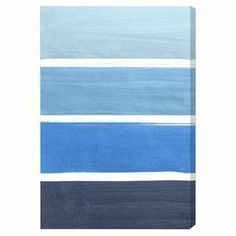 Showcasing a soothing range of blue hues, this color-blocked canvas print effortlessly infuses your space with eye-catching shades.  Product: Wall artConstruction Material: Canvas and woodFeatures:  Limited open edition with certificate of authenticity by the artistMade in the USAReady to hang  Cleaning and Care: Dust lightly with a dry cloth