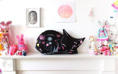 Items similar to DIY KIT - VARIED colours - cat cushion softie plush floral - throw pillow - cats black white illustrated nursery decor stuffing not included on Etsy Floral Throw Pillows, Diy Pillows, Kitsch, Do It Yourself Kit, Cat Cushion, Cat Fabric, Colourful Cushions, Cat Pillow, Etsy Uk