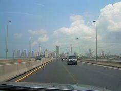 Panama City from airport//Panama City as seen from the Corredor Sur highway.