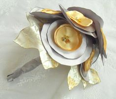 Leaves of Fall Yellow & Grey Bridal Fabric Flower by MyEverAfter, $65.00