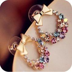 Hot Pop Exquisite Retro Bow Bowknot Earrings Full Rhinestone Flower Earrings Stud Wholesale Price