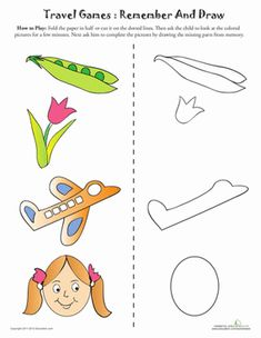 This one involves coloring too, and will challenge your child to re-draw a picture from memory. Preschool Worksheets, Kindergarten Activities, Visual Perception Activities, Writing Games, Dots Game, Printable Board Games, Fun Brain, Activities For 2 Year Olds, Therapy Games