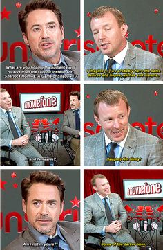 """Robert Downey Jr. interviews Guy Ritchie about """"Sherlock Holmes: A Game of Shadows"""" -- hmmm, dark fantasies?  Can we see some of those in the next Holmes movie, please?"""