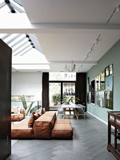 Living room with distressed leather safari chairs, large banana-leaf plants, and light green walls