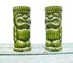 Vintage Hawaii Kai Ceramic Tiki Mugs  Set of 2 by EitherOrFinds, $45.00