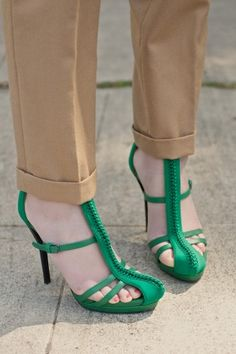 3.1 Phillip Lim strappy green leather stunners