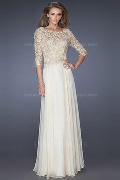 My fav!! Comes in every color you can imagine. A-Line/Princess Jewel Floor-length Chiffon Lace Evening Dress