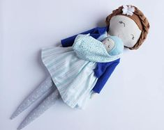 Mom and baby doll, baby wearing doll, mama with baby in sling, baby carrying doll, mama doll, mommy doll, handmade cloth doll, mother doll