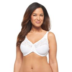 Lilyette Women's Tailored Minimizer with Lace Trim Bra 0428 White - 40DD