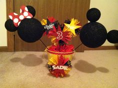 Mickey and minnie decoration used mickey and friends and ribbons and rosettes
