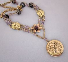 Repurposed Antique Locket Necklace Gemstones, Pearls, Gold Filled, One of a Kind Jewelry by JryenDesigns