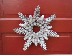 Glittered Pine Cone Wreath Snowflake Shape by WestTwinCreationsLLC