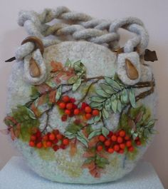 Felted Bag 3D berries embellishment