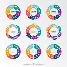 円グラフのインフォグラフィック 無料ベクター もっと見る Free Infographic Templates, Circle Infographic, Chart Infographic, Infographic Powerpoint, Flow Chart Design, Diagram Design, Graph Design, Web Design, Circle Graph