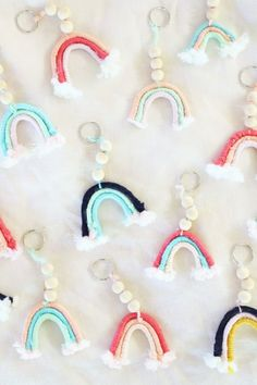 DIY Macrame Rainbow Keychains – A Bubbly Life – Macrame Cute Keychain, Keychains, Keychain Ideas, Bead Keychain, Duct Tape Crafts, Washi Tape, Macrame Projects, Diy Projects, Macrame Patterns