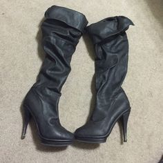 Black pleather knee high heeled boots Used but only worn a few times- black pleather heeled knee high boots with warm fuzzy inside lining. Excellent condition Shoes Heeled Boots