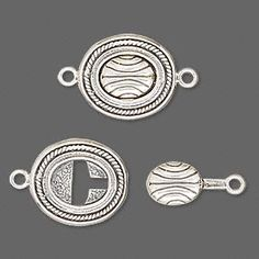 Clasp, JBB Findings, tab lock, antiqued sterling silver, 16x14mm oval with lines. Sold individually.