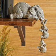 Collections Etc Elephant Sitter Hand-Painted Figurines - Set of Mother and Two Babies Hanging Off The Edge of a Shelf or Table Elephant Home Decor, Elephant Art, Little Buddha, Collections Etc, Elephant Figurines, Little Elephant, Cute Baby Elephant, Classic Home Decor, Clay Art