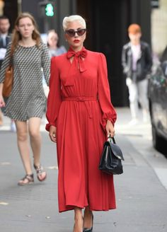 - Lady Gaga out in Paris. Long Dress Fashion, Red Fashion, Boho Fashion, Womens Fashion, Elegant Dresses, Pretty Dresses, Beautiful Dresses, Princesa Mary, Fancy Gowns