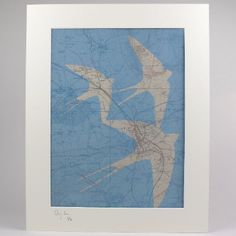 Chris Snow Limited Edition Shropshire Bird Prints - Ludlow: The prints feature a background of old maps over which Chris has laid the reverse colour image of a bird. The contours and shape of the outline of the bird in flight are carefully overlaid on to the map image top that the arterial roads and routes of the map are somehow relevant to the shape of the bird.  Ludlow = Swallow Each print is from an edition of 50  Signed and numbered by the artist in pencil Prints are sold unframed online…