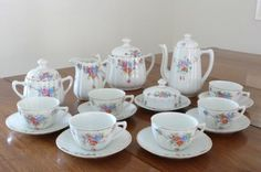Porcelanas antigas, Jogos de chá e café   Porcelana São Pedro, Brasil, 1952.