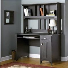 Salinas Collection Mission Desk & Hutch Bush's Salinas Mission Style Desk & Hutch combines the best of Mission style with thoroughly modern office Corner Desk With Hutch, Secretary Desk With Hutch, Corner Writing Desk, Desk Hutch, Hutch Furniture, Furniture Decor, Media Furniture, Corner Office, Office Table