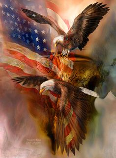 he cry for freedom Echoes on ridges low and high Where eagles dare to fly.  Freedom Ridge prose by Carol Cavalaris  This painting is from the 'Spirit Of The Wild - Patriotic series of art by Carol Cavalaris.