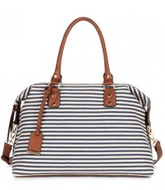love this navy and white striped bag - and it's on sale!