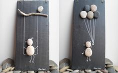 Enfants, ardoise et galets Stone Crafts, Rock Crafts, Diy And Crafts, Arts And Crafts, Burlap Wall Decor, Creation Deco, Diy Buttons, Burlap Flowers, Button Crafts