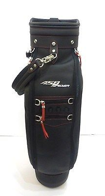 New Ferrari Golf Bag Black Leather 458 Spider Golf Club Bag w/Red Stitching